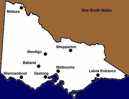 Victoria State Australia Map.Map Of Victoria Australia Touring Hotels Booking Events