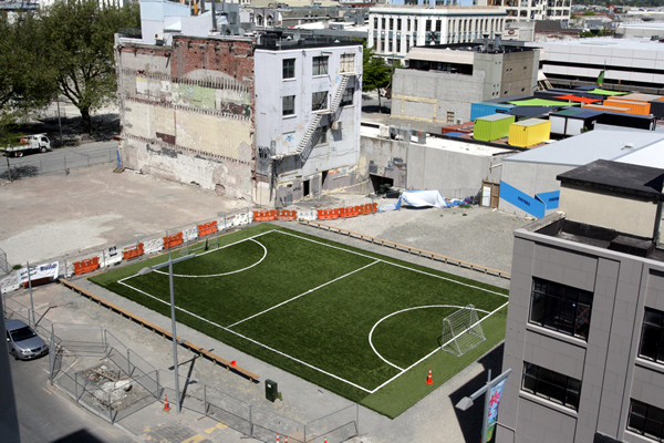 Gap Filler Soccer Pitch, Christchurch NZ after the earthquakes